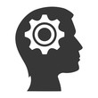 human head profile with gear icon inside. silhouette vector illustration