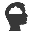 human head profile with cloud icon inside. silhouette vector illustration