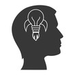 human head profile with rocket bulb light icon inside. silhouette vector illustration