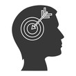 human head profile with target icon inside. silhouette vector illustration