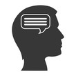 human head profile with speech bubble icon inside. silhouette vector illustration