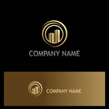 gold building town company logo