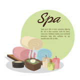 Candles and towel icon. Spa center and healthy lifestyle theme. Colorful design. Vector illustration