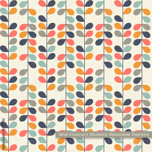 Fototapeta seamless retro pattern in mid century modern style. Abstract vines in vintage colors.
