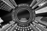 Fine Art, black and white, abstract, upward perspective of New York skyscrapers - 123089985