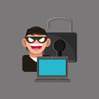 hacker with internet security related icons image vector illustration design