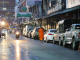 calender at Patpong street in the morning(panning shot)