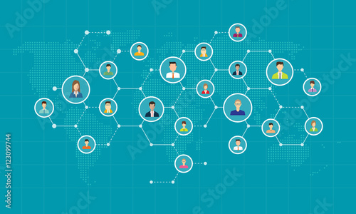 social network connection for online business  background concept