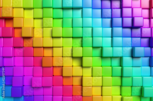 Abstract colorful cubes 3d background © alexus