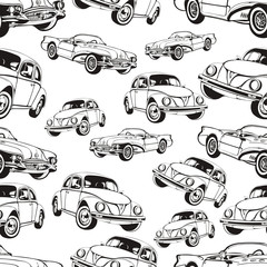 Vintage car seamless pattern, black and white retro cartoon background, coloring book, monochrome drawing. cars on a . For the design of wallpaper, wrapper, fabric