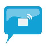 Blue speech bubble with white Transmitter icon on white backgrou