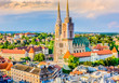 Zagreb cathedral aerial view. / Aerial view on cathedral in Zagreb city, capital town of Croatia, european landmarks.