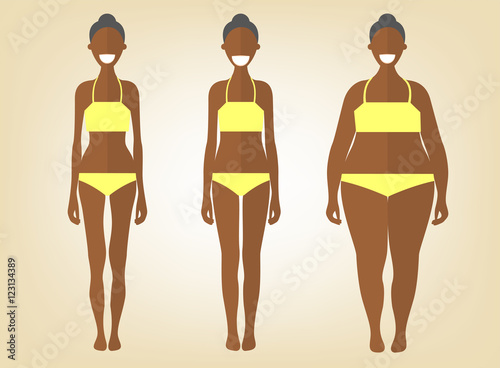 7548e1cf634 Black woman in a different forms. Set of flat style illustrations. Pretty  african girl