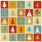 Christmas tree icon set. Flat design. Monochrome version