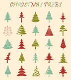 Christmas tree icon set. Flat design. Monochrome version