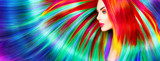 Fototapety Beauty fashion model girl with colorful dyed hair