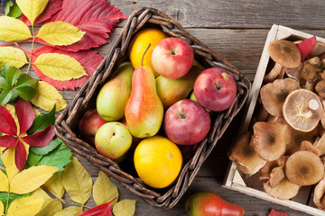Autumn food and leaves