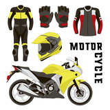 Fototapety Vector set of motorcycle accessories