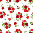 Vector seamless pattern with red roses branches on a white background.