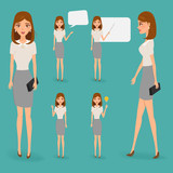 Business woman character with job. Vector people.