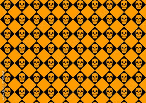 canvas print picture Halloween Background Pattern Skull Orange