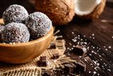 Fototapety Truffles - classic no bake Chocolate coconut balls
