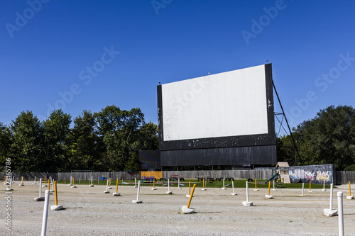 Poster Old Time Drive-In Movie Theater with Outdoor Screen and Playground II