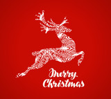 Merry Christmas greeting card. Prancing reindeer painted in a decorative style. Vector illustration