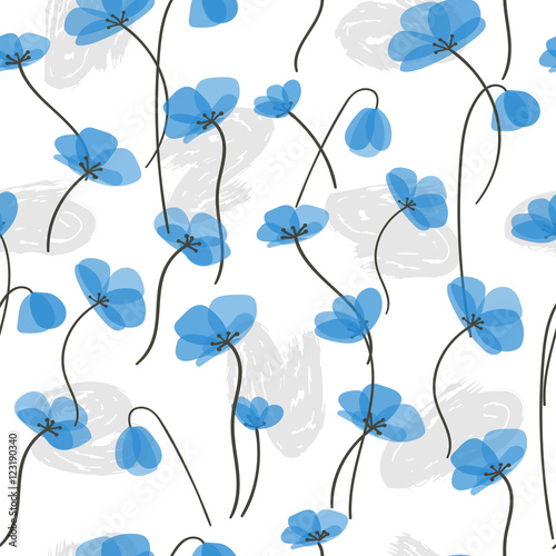 Delicate blue flowers seamless pattern. Vector floral background. - 123190340