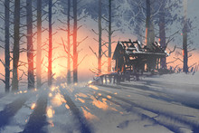 """Постер, картина, фотообои """"winter landscape of an abandoned house in the forest,illustration painting"""""""