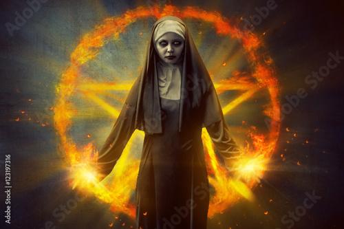 Poster Pentagram And Devil Nun