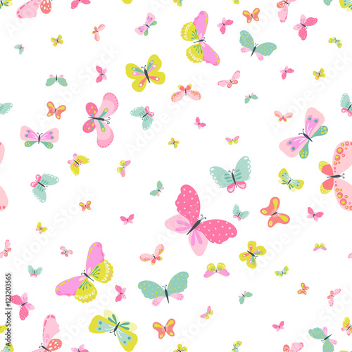Fototapeta Colorful Seamless Background with Butterflies - for Scrapbooking