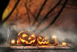 Halloween Pumpkins on old wooden table