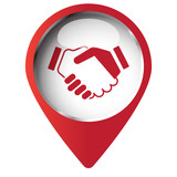 Map pin symbol with Handshake Agreement icon. Red symbol on whit