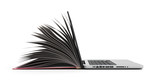 creative E-learning Concept Book and Laptop 3d render on white