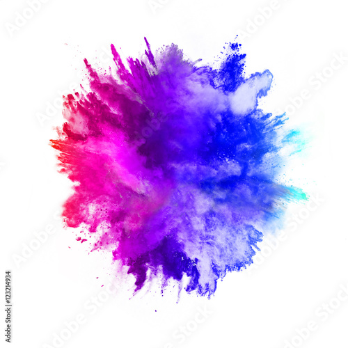 Poster Explosion of colored powder on white background