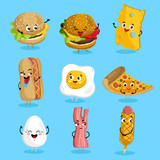 Cartoon funny fast foods characters isolated vector illustration. Funny food face icon. Fast food emoji. Funny burger, laughing cheese. Cartoon emoticon face of fast food. Gloomy bacon, sausage shy. - 123215586