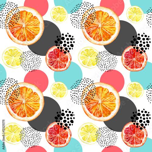 Fototapeta Watercolor fresh orange, grapefruit and colorful circles seamless pattern.