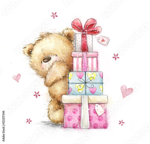 Teddy Bear With The GiftsHand Drawn Isolated On White Background Happy Birthday Card Gifts Bow Gift Boxes Hearts Christmas Cute