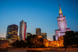 Illuminated Palace of Culture and Science in Warsaw, Poland - 123219152