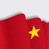 Vietnamese waving Flag. Vector illustration.