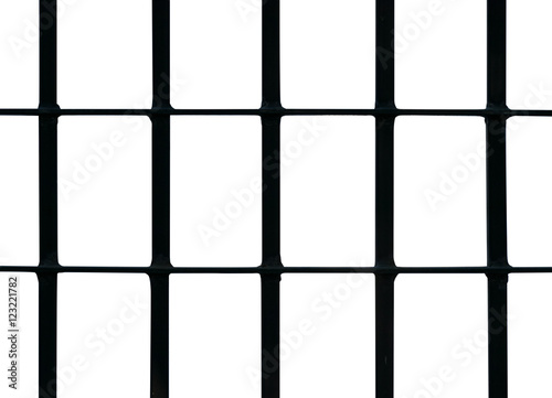 Poster Black iron cage isolate on white background