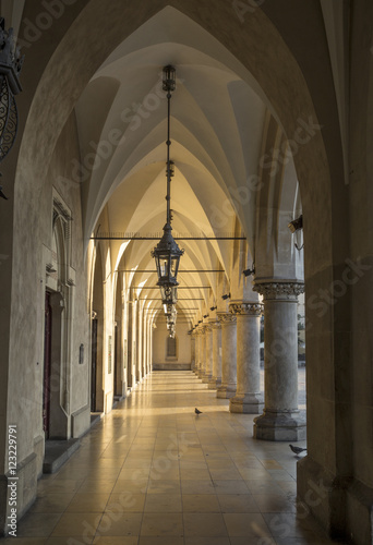 Gothic arcades in Cloth Hall in Krakow, Poland © mikolajn