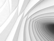 3d white tunnel of intersected helixes