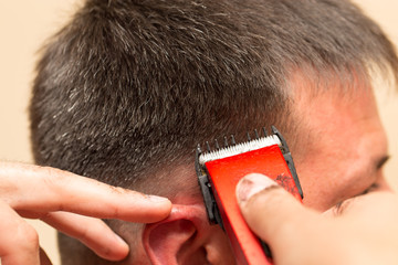 men's haircut at the beauty salon