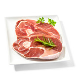 Lamb slices on plate with spice herbs - 123240754