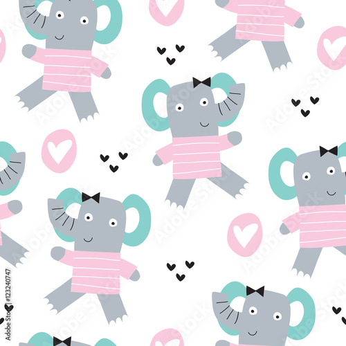 seamless elephant pattern vector illustration