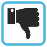 Thumb Down blue and gray vector icon. Image style is a flat pictograph symbol in a rounded square frame on a white background.