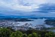 Sasebo city skyline view from mount Yumihari overlook Nagasaki,