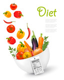 Fruit in a bowl with a nutritional label..Concept of diet. Vecto